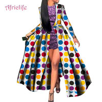 WY4664 Hot Type African Bazin Fabric Dresses for Women Short Skirt and Long Coat Vestidos Traditional African Party Clothing