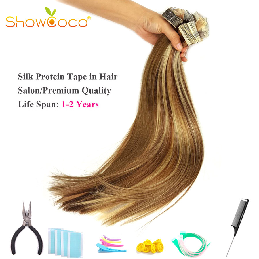 Showcoco Virgin Remy Tape In Extensions Human Hair 10A Salon Quality One Donor Cuticle Aligned Hair Protein Tape Skin Weft Hair