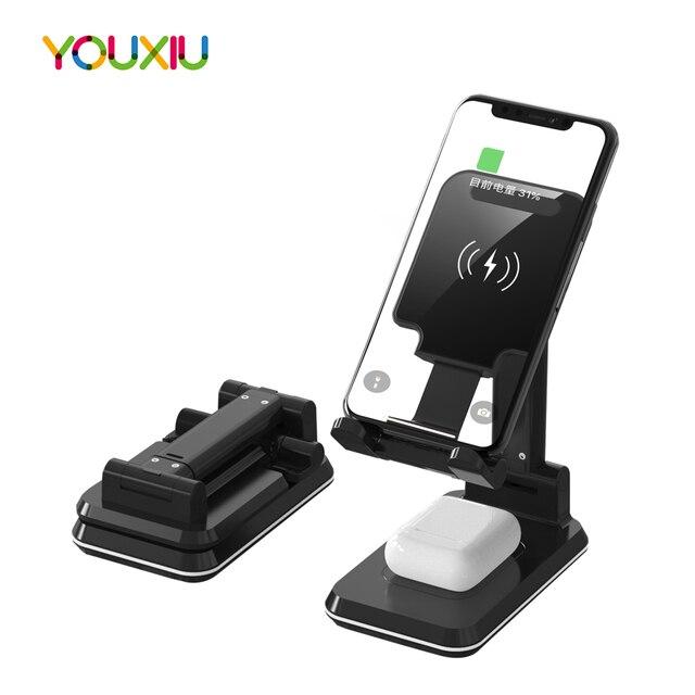 Station de charge rapide sans fil 2 en 1 pour téléphone, pour iphone 11 Pro Max XS X10W Qi Samsung S20 S10 Note 9 8 7 6