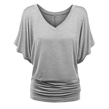 цена на Plus Size Fashion Batwing Sleeve T Shirt Solid tshirt Casual Summer Lady V-Neck Tunic Top Female Women Short Sleeve Shirt Blusas
