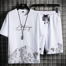 Homme T-shirt + Ensemble Short Et Haut D'été Respirant Décontracté T-shirt Running Ensemble Mode Harajuku Imprimé Mâle Sport Costume 2021 nouveau