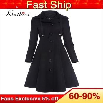Kinikiss Frauen Winter Lange Trenchcoat Schwarz Gothic Drehen Unten Kragen Taste Vintage Mantel Tunika Rock Dünne Dame Outwear Mäntel