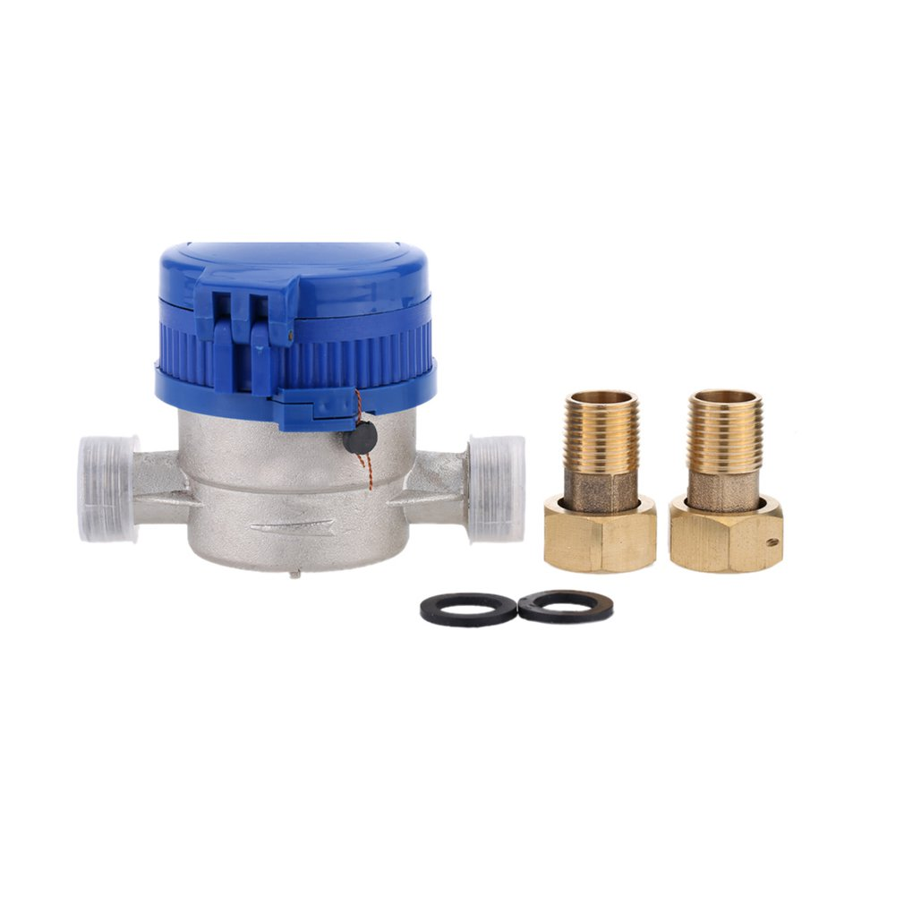 TS-S300E 15mm 1/2 Inch Cold Water Meter For Garden & Home Using With Free Fittings Using 360 Adjustable Rotary Counter