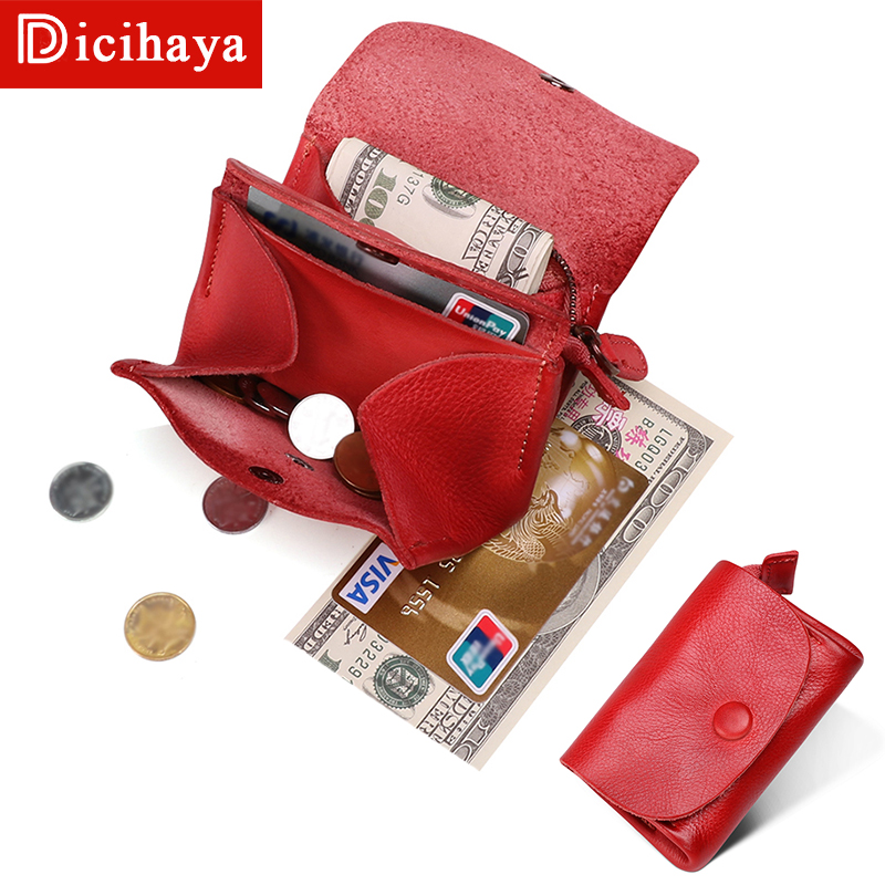 Genuine Leather Women Wallet Fashion Coin Purse For Girls Female Small Portomonee Lady Perse Money Bag Card Holder Mini Clutch image