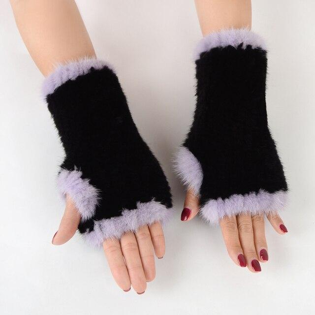 Fingerless Gloves Knitted Women Real Fur Mink Fur Winter Mink Fur Mittens For 2020 New Fashion Knitted Mink Fur Women Gloves 5