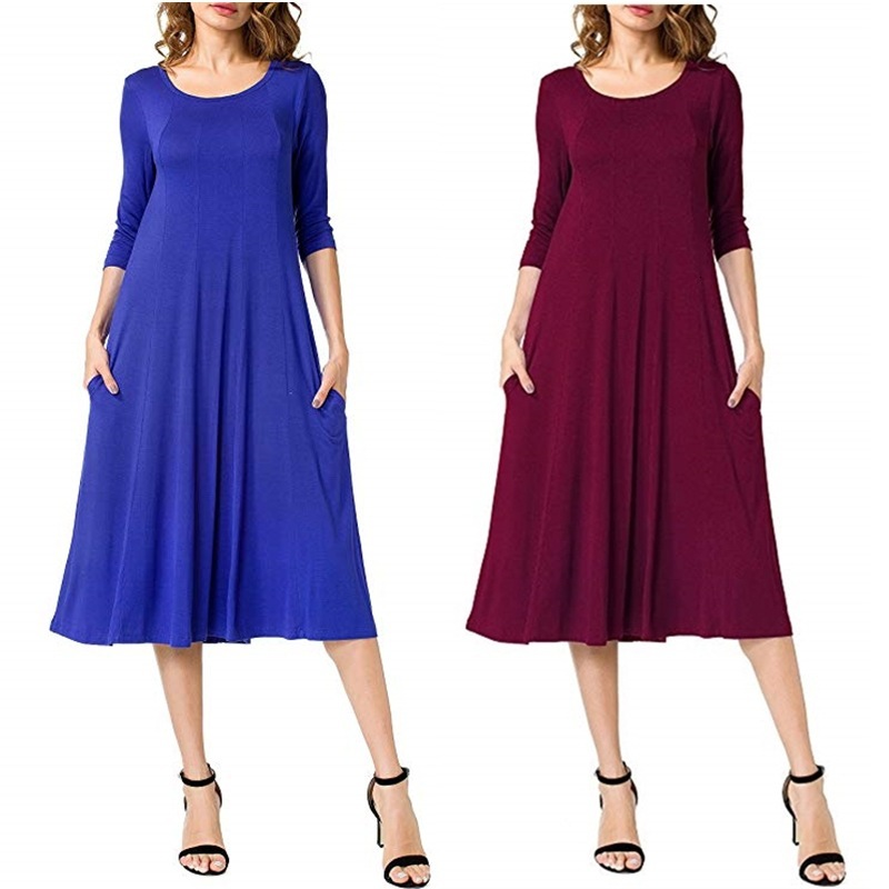 BacklakeGirls New Arrival Round Neck 3/4 Sleeves Tea Length Solid Color Coktail Dress Plus Size Woman Night Dress Maxi 5XL 6XL
