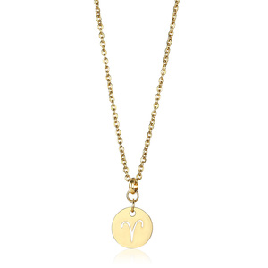 New Trendy Female Elegant Zodiac Sign 12 Constellation Necklace Pendant for Women Rolo Cable Chain Necklace Dropship DN171