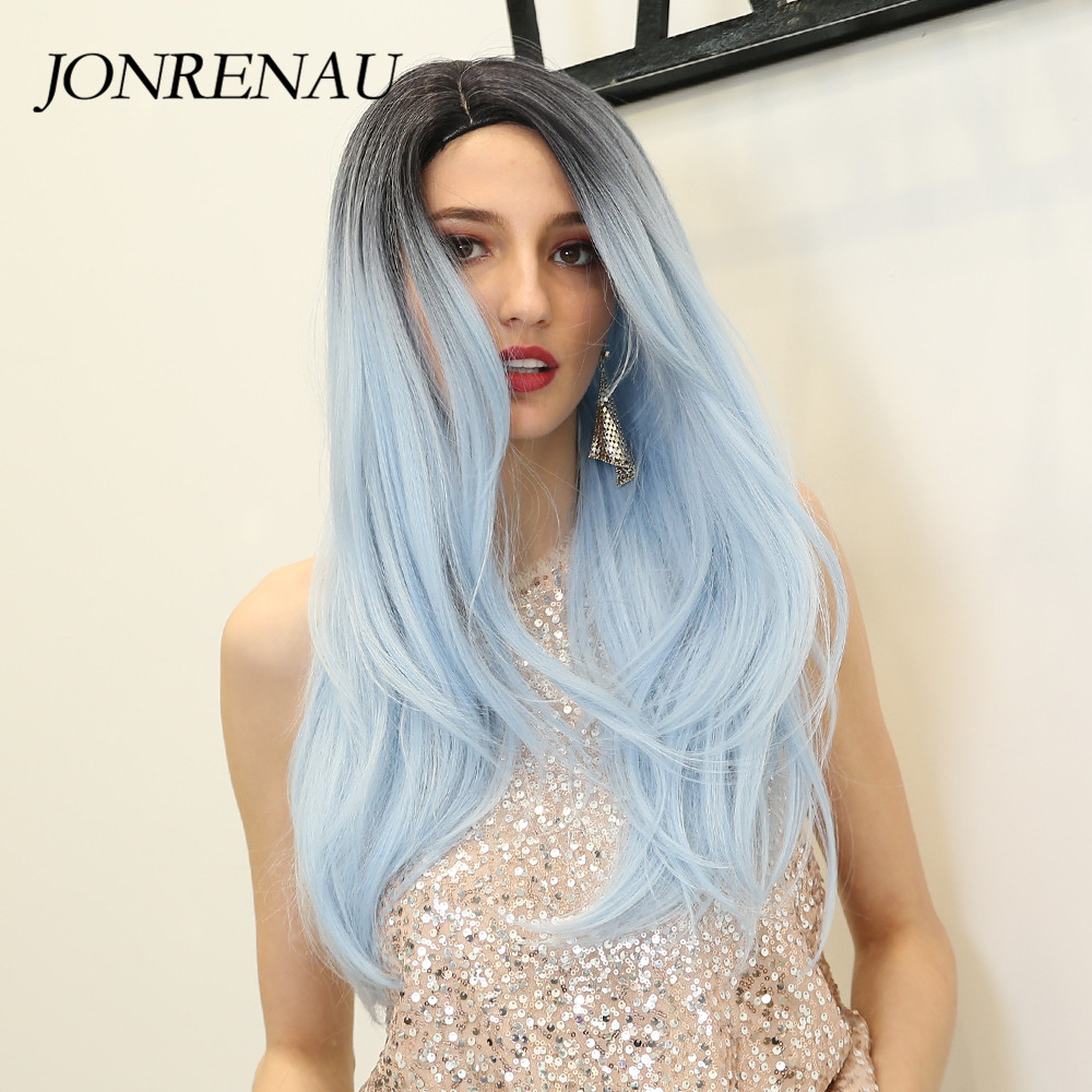 JONRENAU Long Silky Straight Hair Synthetic Ombre Black To Blue Wigs For White/Black Women Party Or Daily Costume