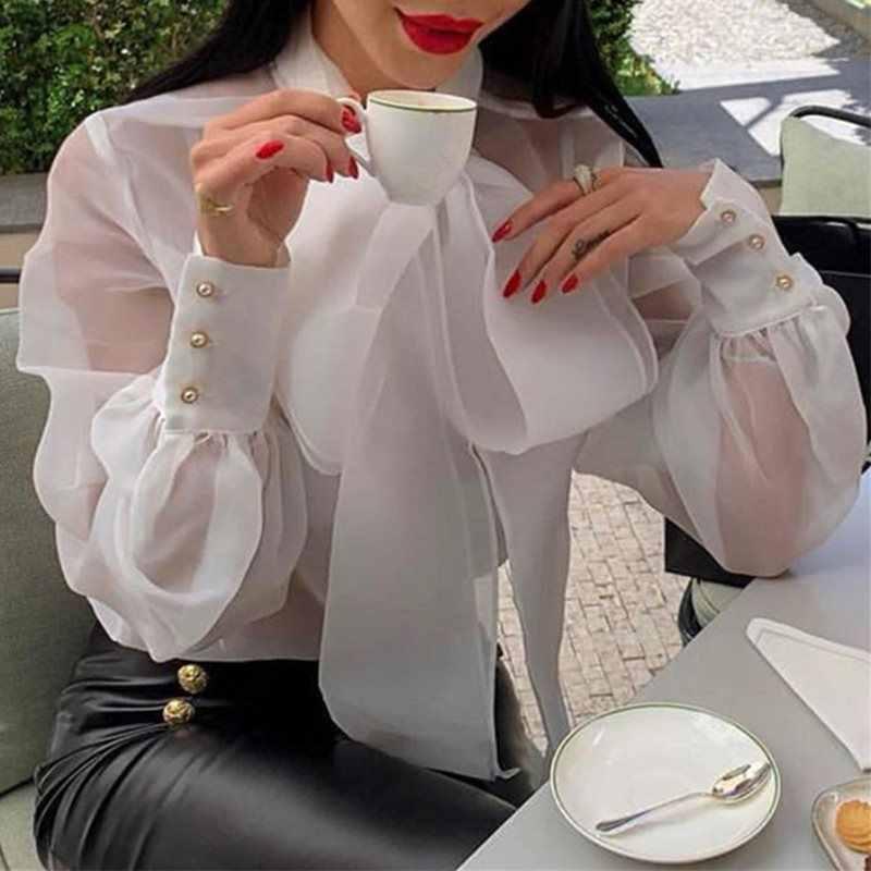 Elegante Büro Damen Rollkragen Bowknot Mesh Bluse Shirt Weiß Frauen Vintage Puff Langarm Sexy Transparent Party Tops