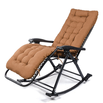 Comfortable Relax Rocking Chair Folding Lounge Chair Relax Chair with Cotton Fabric Cushion Nap Recliner 250kg Bearing