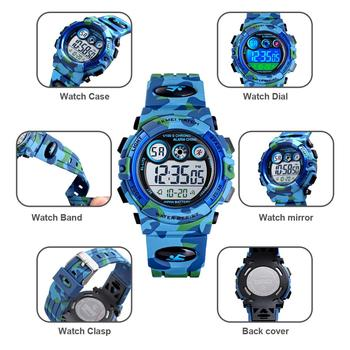 SKMEI Children LED Electronic Digital Watch Stop Watch Clock 2 Time Kids Sport Watches 50M Waterproof Wristwatch For Boys Girls 4