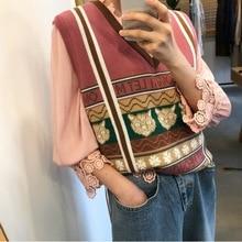 New Sweater 2019 Cute Aging Jacquard Core-spun Yarn V-neck Vest V-Neck Sleeveless Pullovers Fashion Women Sweaters