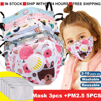 New Fashion Cartoon Reusable Children Mask For kids 2020 Breath Valve Mouth Face Mask kids PM2.5 Filters New Washable Mask
