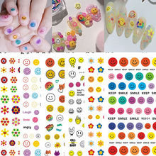 Summer Nails Smile Face 3D Nail Art Stickers Decals Adhesive Maincure Salon Sunflower Nail Art Tool Cute Nails Stickers Design