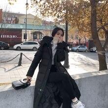 Женская зимняя куртка с капюшоном стеганая новинка длинные хлопковые