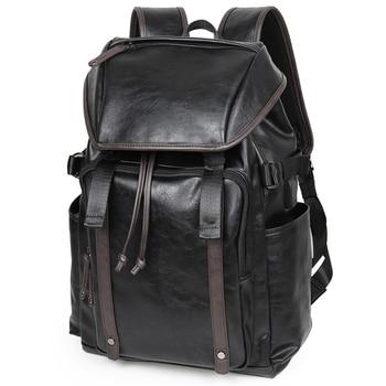 Men Backpack Travel Leather Laptop Rucksack USB Drawstring School Bag Casual Fashion Flap-cover Satchel Anti-theft Multi-pockets