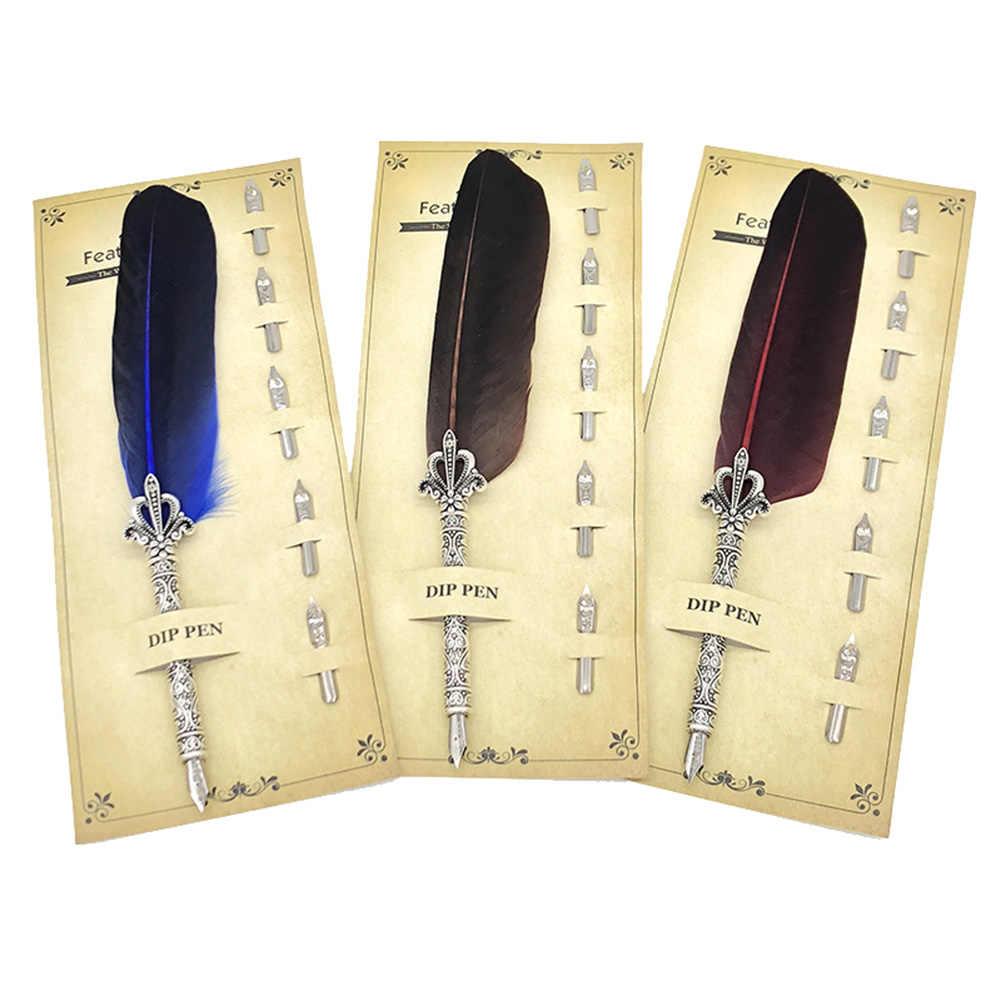Vintage tüy Quill Dip dolma kalem pürüzsüz yazma malzemeleri kırtasiye hediye