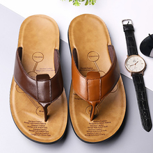Men Summer Slippers Shoe Flip-Flops Genuine-Leather Soft-Sole Comfort Male Fashion To