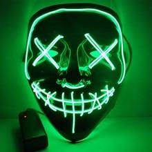 Маска на Хэллоуин, светодиодный маска, маска для чистки, тушь для ресниц, костюм, DJ, вечерние светильник, маски, страшные маски, светящиеся в темноте, маска V