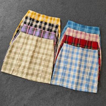 Summer Harajuku Plaid Pencil Skirts Womens High Waist Mini Skirts Lining With Shorts 2020 korean Streetwear Vintage  Skirt