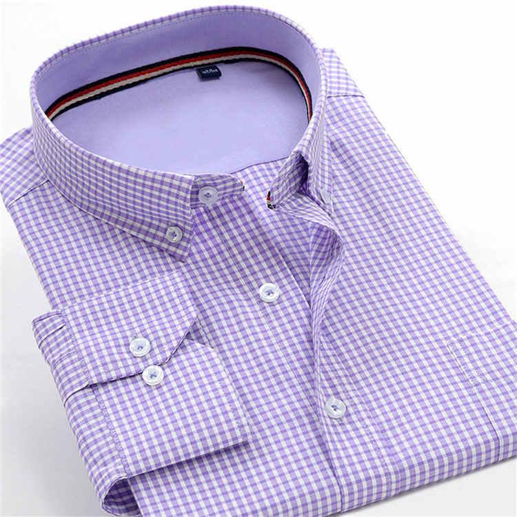 Мужская клетчатая рубашка с длинным рукавом, Осень-зима 2019, оксфордская умная Повседневная приталенная Мужская рубашка, мужская рубашка, большой размер M-10XL