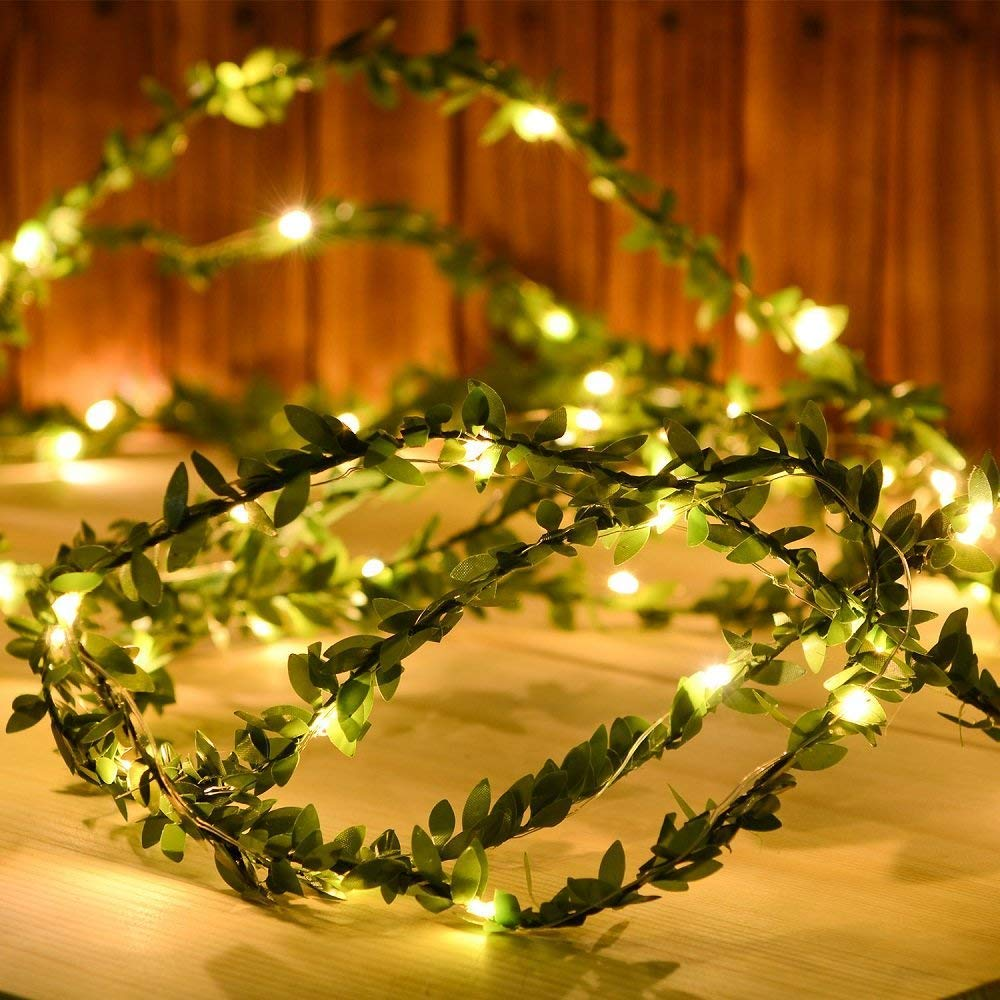 2M/3M/5M/10M Green Leaf Garland String Lights LED Flexible Copper Artificial Leaf Vine Lights For Christmas Wedding Party Decor