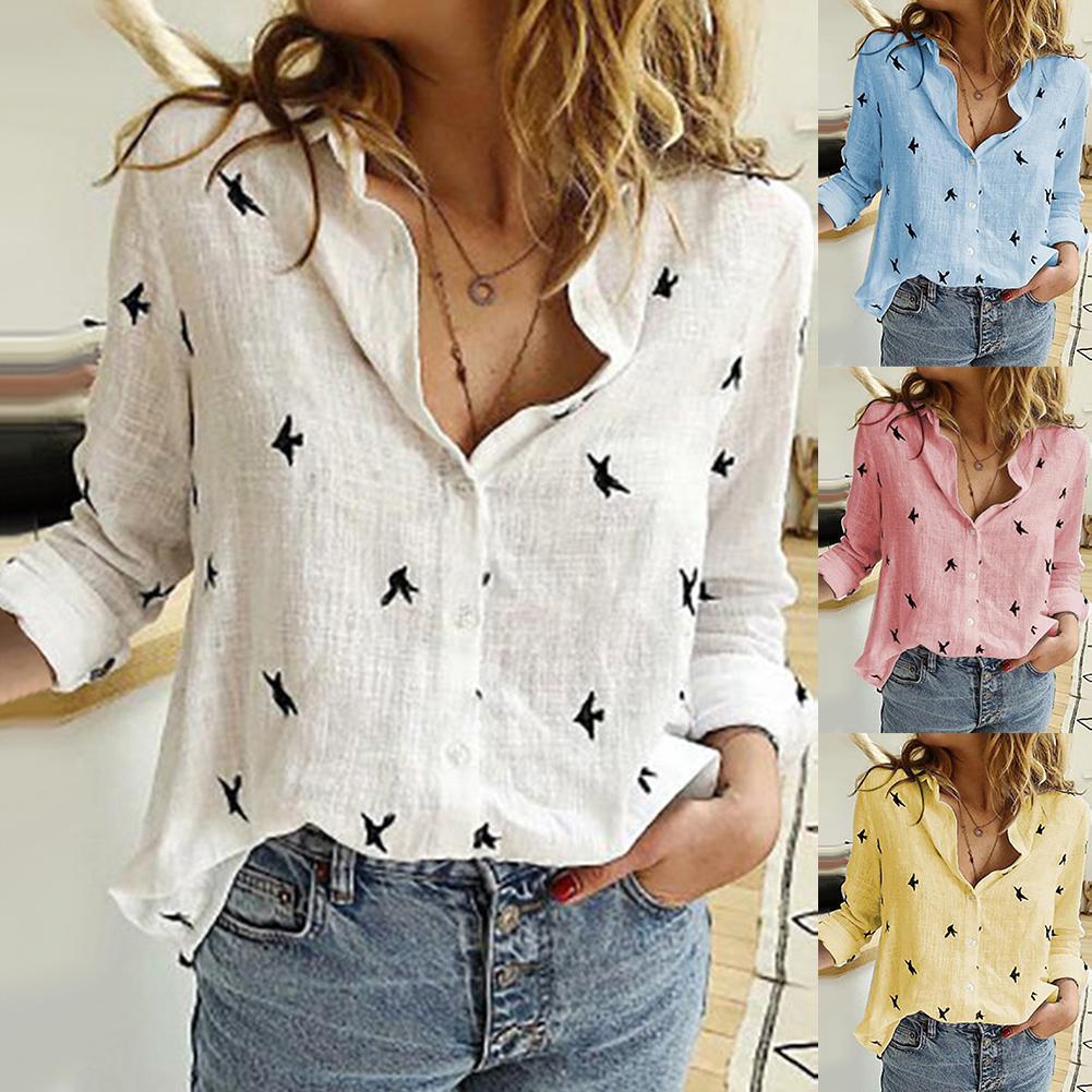 Hot Autumn Bird Print Shirt Casual Women Blouses Turn Down Collar Long Sleeve Blouse Top  All-match Loose Shirt Ladies Top