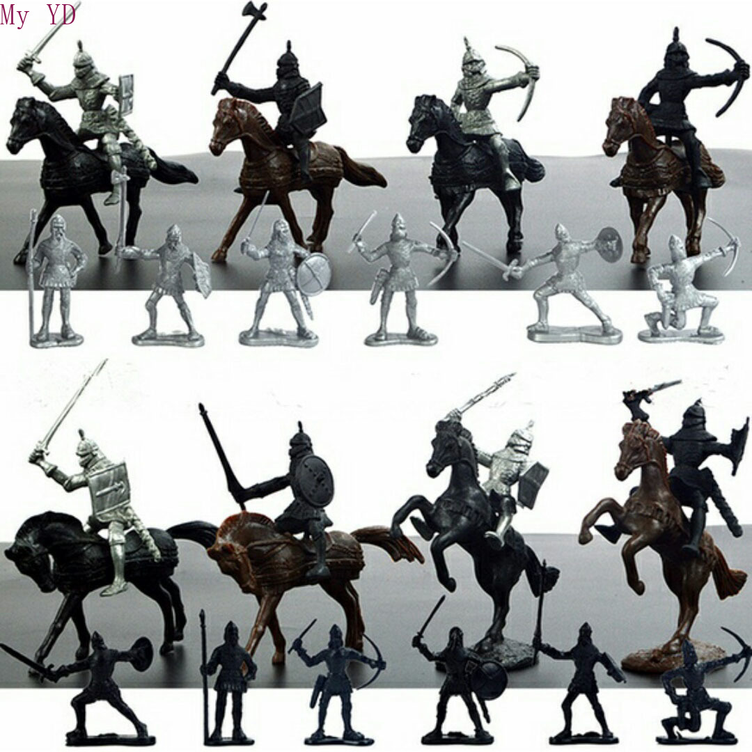 28Pcs/Set Medieval Knights Warriors Horses Kids Toy Figures Static Model Playset Playing On Sand Castles (20 Soldiers+8 Horse)