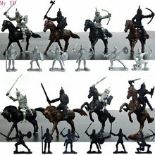 28 unids/set Medieval caballeros guerreros caballos niños juguete modelo estático juego jugando en castillos de arena (20 soldados + 8 caballo)