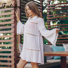 Fitshinling Hollow Out Lace Splice Boho Shirt Dress Cover-Up Flare Sleeve Holiday White Pareos Slim Sexy Short Dresses Women New navy lace hollow out short sleeves mini dresses with lace up design