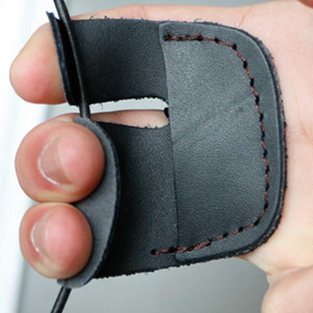 1 PC 3 指先牛革アーチェリー指狩猟ガード保護安全パッドグローブタブ弓アーチェリースポーツ