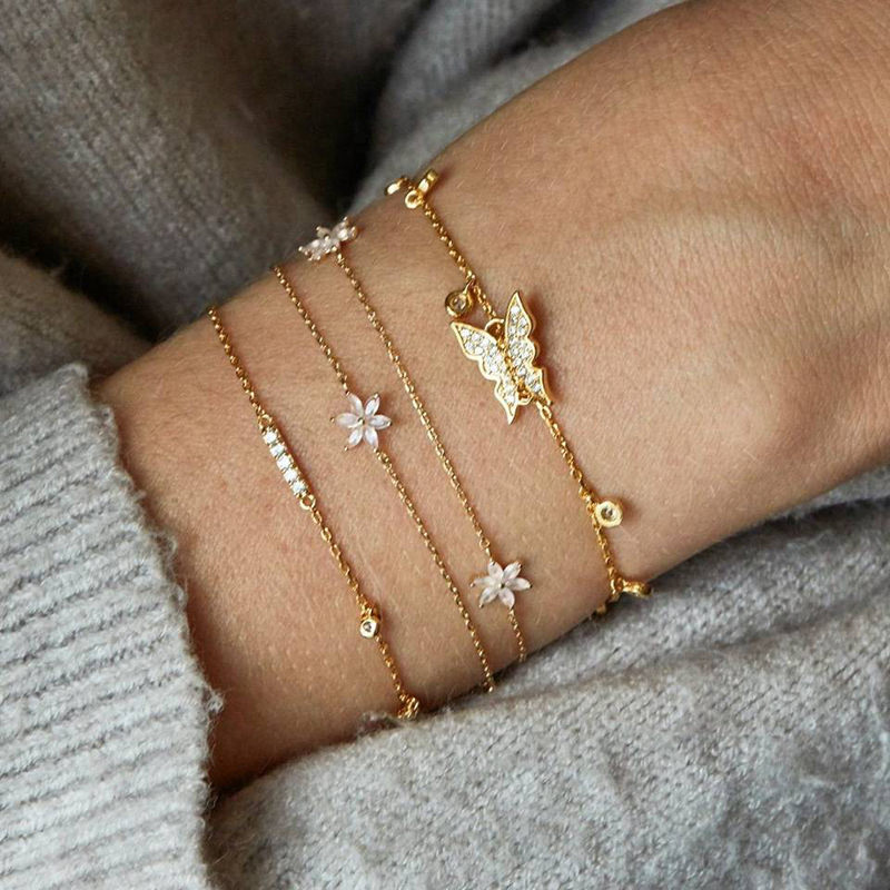5Pcs/set Bohemian Gold color Moon Leaf Crystal Opal Open Bracelet Set for Women Punk Boho Beach Bangle Jewelry Gift 8
