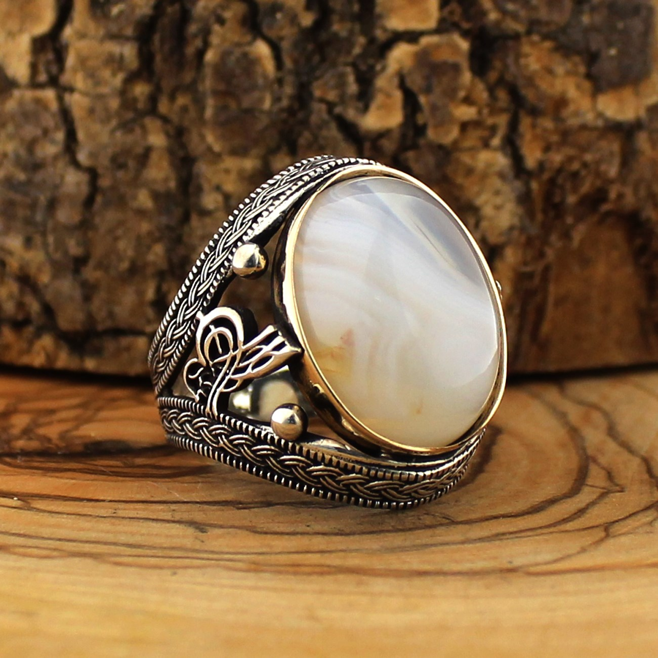 925 Sterling Silver Ring For Men Solimani Ivory Aqeeq Stone Jewelry Fashion Vintage Onyx Zircon Gift Rings Size English Style