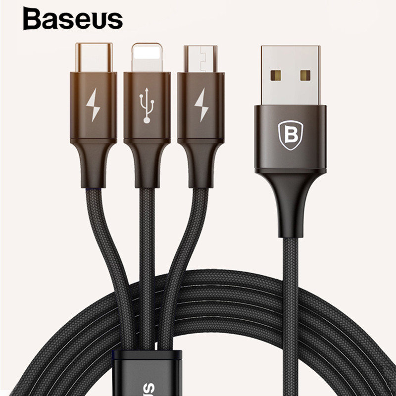 Baseus 3 in 1 USB Cable 2 in 1 USB Cable Data for iPhone X Micro USB Type C Charger Cable for Samsung S9 S8 Fast Charger Cable-in Mobile Phone Cables from Cellphones & Telecommunications on AliExpress