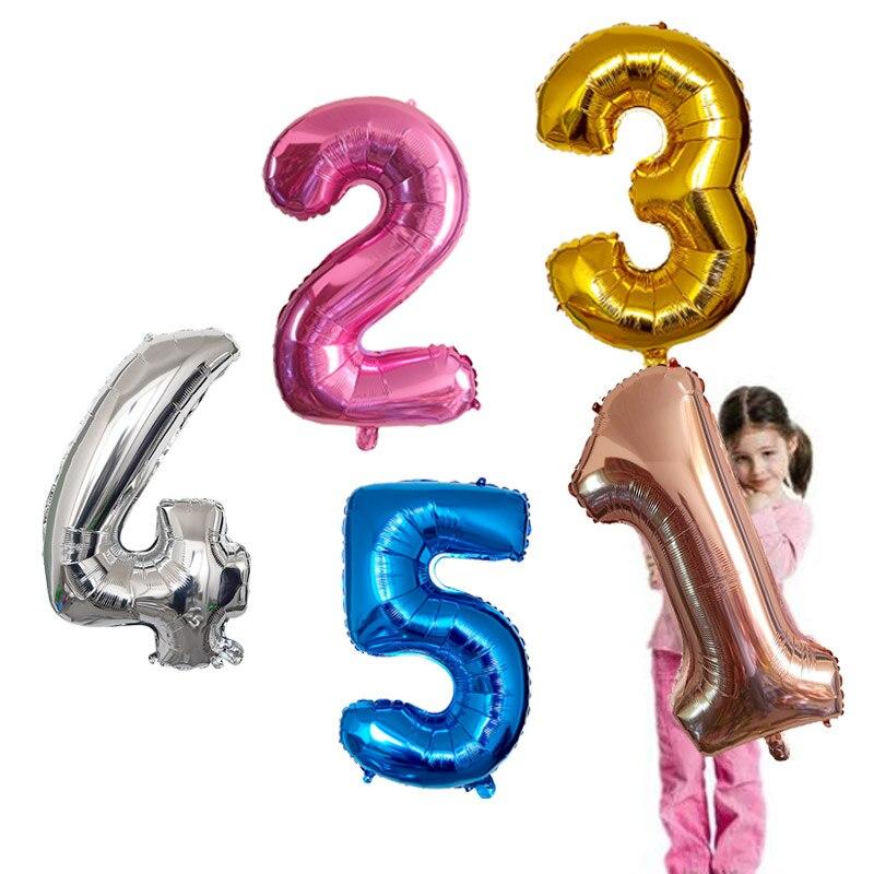 32 дюйма шара с цифрой на возраст 1, 2, 3, 4, 5, количество цифр наполненные гелием шары Baby Shower День рождения Свадьба Декор шарики принадлежности