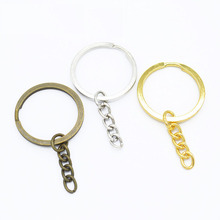 50pcs Metal DIY Jewelry Making Split Keychain Ring Parts Key Chains Circle with 30mm Open Jump  Wholesale Lots Bulk