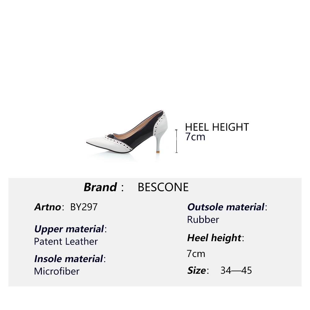 Image 5 - BESCONE Sexy Pointed Toe Ladies Pumps High Quality Patent Leather Shallow Thin Heel Shoes New Fashion Dress Women Pumps BM297Womens Pumps   -