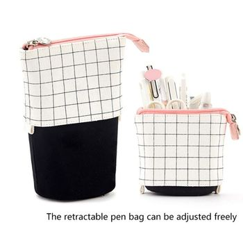 Stand Up Pencil Holder Telescopic Pencil Case Pen Box Stationery Pouch Bag creative realistic fish shape kawaii pen bag make up pouch pen pencil case with zipper pencil pouch school supplies stationery