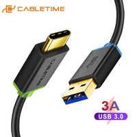 Cabletime tipo c cabo usb 3.0 para xiaom usb c tipo c 3a cabo de carga telefone móvel para dispositivos usb c007