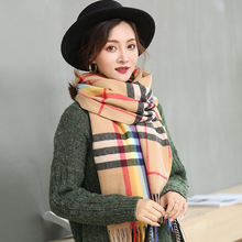 Scarf autumn winter new style scarf fringe imitation cashmere scarf checked scarf shawl thickened scarf outdoor soft checked pattern fringed scarf