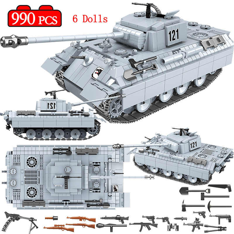 990PCS Military Panther Tank 121 Building Blocks Legoing Technic WW2 Tank Army Soldier Figures Weapon Bricks Toys for Boys Kids