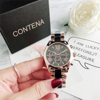 CONTENA Top Brand Luxury Crystal Fashion Women Watches Stainless Steel Women's Watches Ladies Watch Women Clock reloj mujer mont