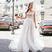 Verngo A-line Wedding Dress Lace Appliques Gowns Elegant Flowers Bride V-neck Backless Vestidos De Novia 2020