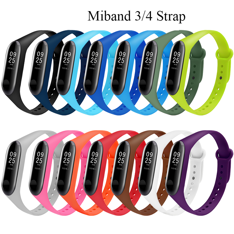 Watch Band For Xiaomi Mi Band 3 4 Silicone Watch Strap Watch Belt Bracelet For Mi Band 3 4 Sport Watch Band For Mi 3 Replacement