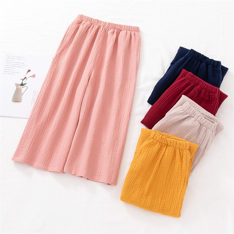 2019 Chinese Style Women Cotton Straight   Pants   Calf-Length   Wide     Leg     Pants   With Pocket Loose Solid Trousers Plus Size M-6XL 7XL