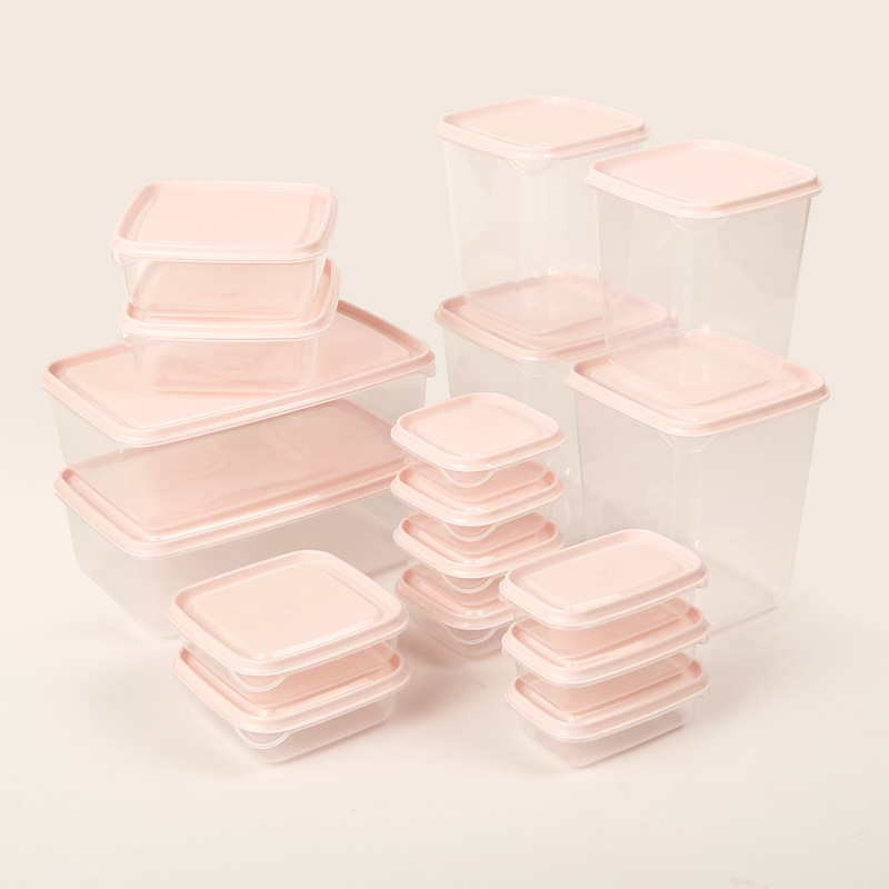 Refrigerator Plastic Fresh-keeping Container Grains Storage Box Microwave Oven Container Size 17-Piece Set Freshness Box Sealed