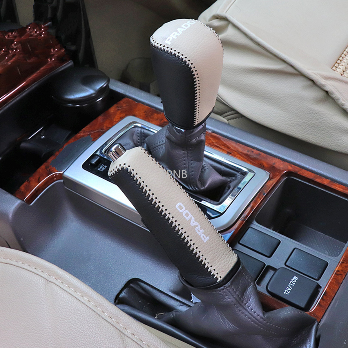 Genuine Leather Gear Shift Knob Hand Brake Cover for <font><b>Toyota</b></font> Land Cruiser Prado <font><b>150</b></font> 2010 2012 2013 2014 2015 2016 2017 2018 image