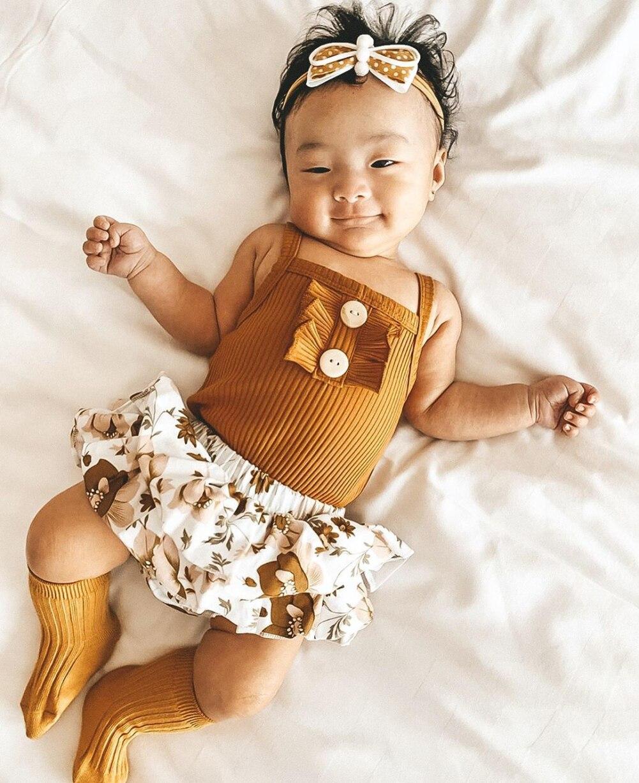 US Infant Baby Girl 6M-24M Sleeveless Sling Tops Romper+Tutu Skirt Dress Outfit Sunsuit