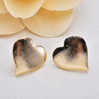 (135)10 Pcs Heart 20Mm 24 K Gold Color Brass False Heart Form Stud Earrings High Quality Diy Accessories Jewelry Recognitions