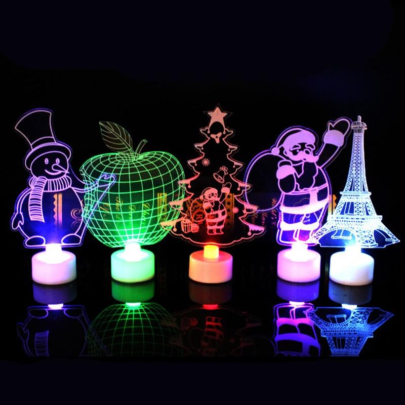 Christmas Tree Santa Claus Snowman LED Night Light Home Decor Lamp Xmas Gift Christmas Festive Decoration LED Electronic Candles
